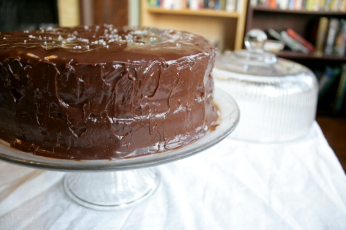 chocolate cake with salted caramel ganache