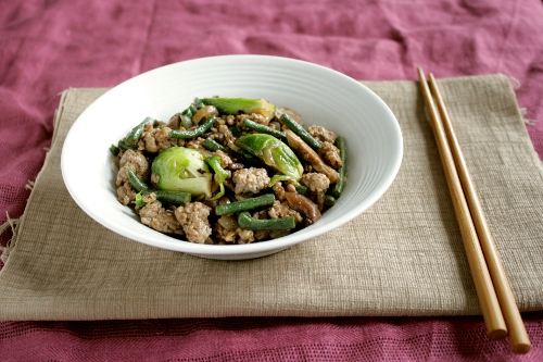 stir-fried pork and vegetables in black bean sauce