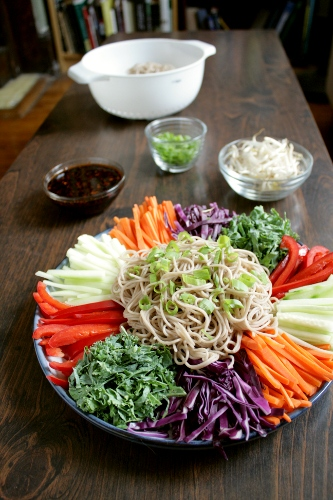 korean cold noodles and vegetables