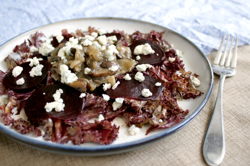 beet mushroom and blue cheese salad