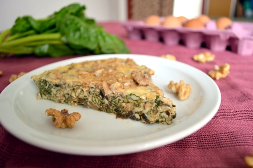 crustless mushroom and greens quiche