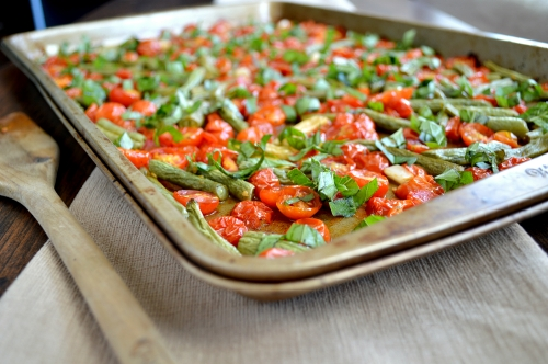 roasted tomatoes and green beans with basil