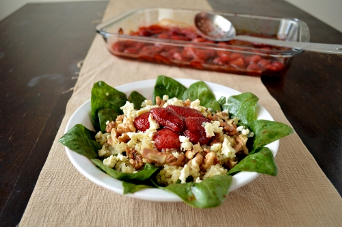 roasted strawberry quinoa salad