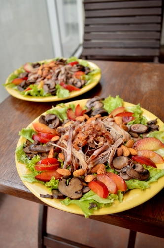 pork and plum salad
