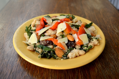 warm kale, white bean, and anchovy salad