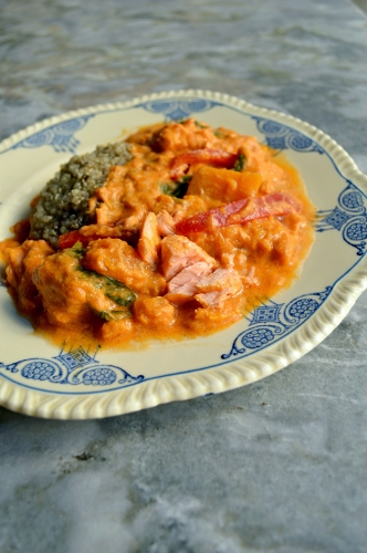 thai pumpkin and salmon red curry